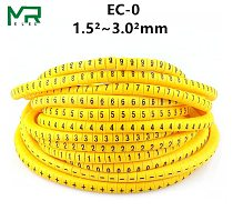 EC-0 Cable Markers Letter 0 to 9 + - X 600PCS (Each50pcs ) for wire diameter 1.5sq .mm~ 3.0 sq.mm Cable Wire Markers