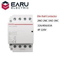 4P 32-63A AC 220V 230V 50/60Hz Din Rail Household AC Modular Contactor Switch Controller 4NO 4NC 2NO 2NC Smart Home House Hotel