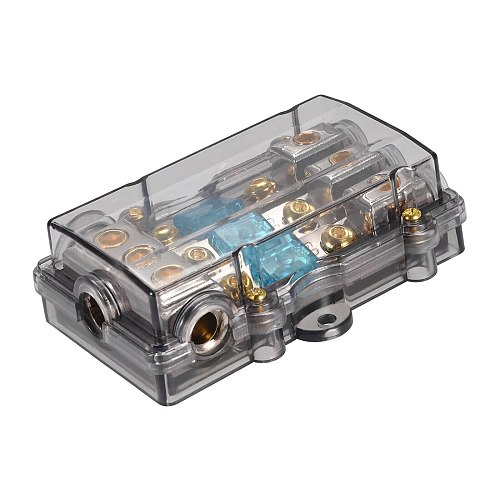 uxcell 4/8 Gauge in Line Mini ANL 1 in 3 Fuse Holder Distribution Block with 60A Fuses for Car Stereo and Audio