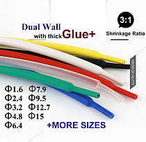 3:1 ratio Heat Shrink Tube Adhesive Lined with Glue Dual Wall Tubing Wrap Wire Cable kit 1.6mm 2.4mm 3.2mm 4.8mm 6.4mm 7.9mm 9.5