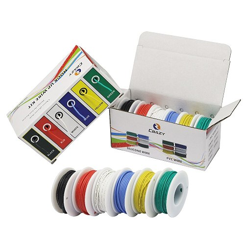 36 m / box 118 ft 20 AWG 6 m each color flexible silicone wire tinned copper wire kit 6 color electronic stranding wire DIY