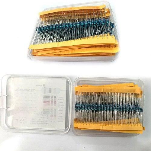 600pcs/lot resistor pack set 30Values* 20pcs 1% 1/4 W diy Metal Film Resistor kit use colored ring resistance (10 ohms~1 M ohm)