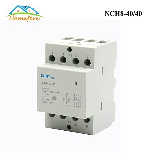 CHINT NCH8-20/20 NCH8-25/20 NCH8-40/40 Din Rail Household AC Modular Contactor for Home