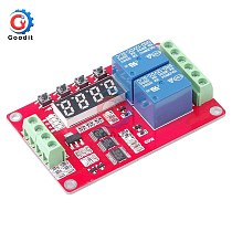 DC 5V/12V/24V 10A 2 Channel Multifunctional Relay Module Cycle Delay Timer Switch Self-Locking Programmable Relay Module /w LED