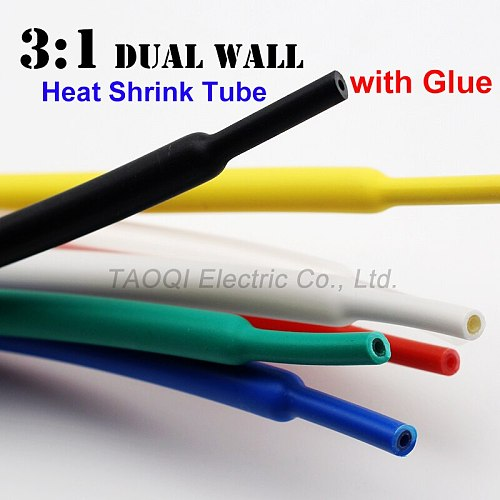 50cm/lot 3.2mm Heat Shrink Tube with Glue Dual Wall Adhesive Lined 3:1 Shrinkage Shrink Tubing Wrap Wire Cable kit 500mm Sample