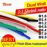 Heat Shrink Tube 3:1 ratio Dual Wall Tubing Adhesive Lined with Glue Wrap Wire Cable kit 1.6mm 2.4mm 3.2mm 4.8mm 6.4mm 7.9mm 9.5