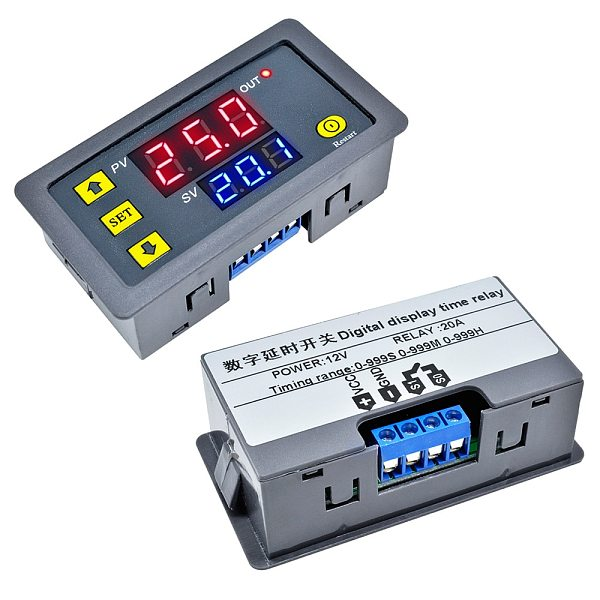DC 12V AC 110V 220V Digital Timing Delay Relay Module Cycle Timer Relay Dual LED Display Timer Control Switch Adjustable Control