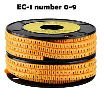 500PCS one yellow roll for mix number Free shipping EC-1 Cable Wire Marker Number 0 to 9 For Cable Size 2.5 sqmm PVC material