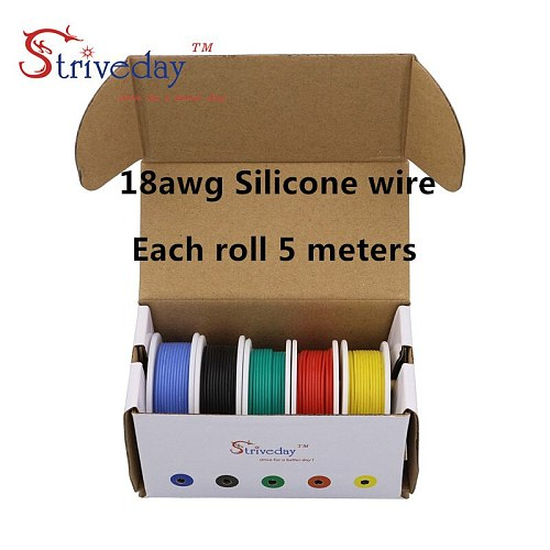 18AWG 25mx Flexible Silicone Cable Wire 5 color Mix box 1 box 2 package Tinned Copper stranded wire Electrical Wires DIY