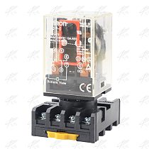 MK2P MK-2P  MK2P-I ONE NEW PLUG IN RELAY 8PIN 2P FITS 220V 110V AC 12V 24V DC COIL with socket base