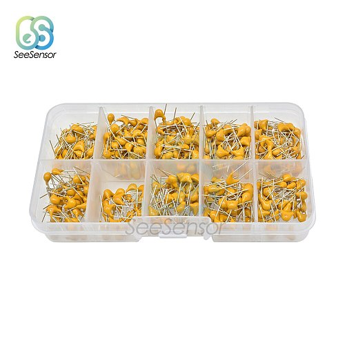 10Value*50pcs 0.1uF-10uF 50V 0.15uf 0.22uf 0.33uf 0.47uf 0.68uf 1uf 2.2uf 4.7uf Monolithic Multilayer Ceramic Capacitor Kit Box
