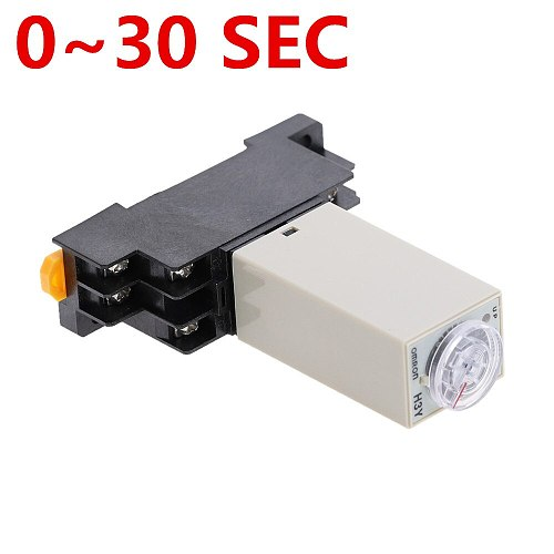 1pcs H3Y-2 DC 12V 24V /AC 110V 220V Delay Timer Time Relay 5A 0 - 30 SEC with Base