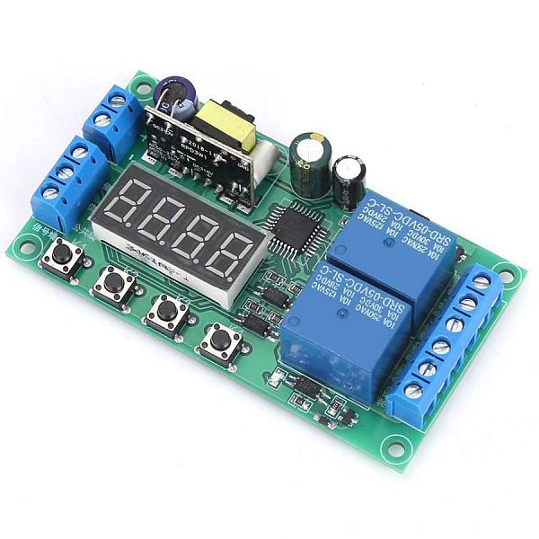 YF-7 AC 220V Dual Channel Delay Relay Module Multifunctional Pulse Trigger Cycle Timer 0.01s-999m 5A Time Delay Relay