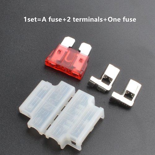 10sets Auto Standard Middle Fuse Holder + Car  Truck ATC/ATO Blade Fuse 3A 5A 10A 15A 20A 25A 30A 35A 40A