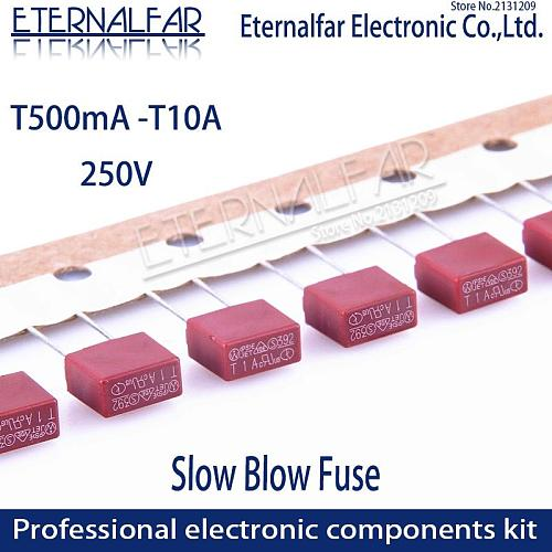Square Fuse 0.5A 0.8A 1A 2A 2.5A 3.15A 4A 5A 6.3A 8A 10A 250V 392 Plastic Fuse T2A LCD TV Power Board Commonly Water Purifier