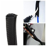 3M 5mm Black Wrap Braided Cable Sleeve General Wire Pipe Hose Wiring Protection Flexible Nylon Heat Insulation Sleeve
