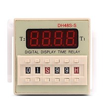 DH48S-S Repeat ON & OFF Cycle Timer Delay SPDT Control Digital Time Relay 8Pins with Socket Base DH48S AC 220V 110V DC 24V 12V