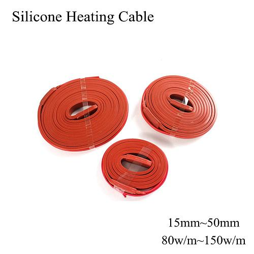 15mm ~ 50mm 12V 24V 36V 48V 110V 220V Silicone Heating Cable Wire Heating Belt Wrap Heat Mat Pad Plate Waterproof Water Pipe