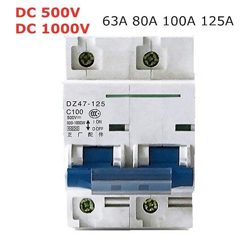 2P DC 1000V 500V Solar Mini Circuit Breaker 63A/80A/100A/125A DC1000V DC500V DC MCB