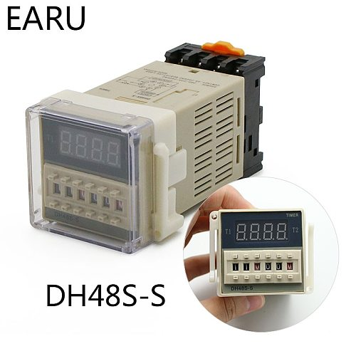 DH48S-S 0.1s-990h AC 110V 220V DC 12V 24V Repeat Cycle SPDT Programmable Timer Time Switch Relay with Socket Base DH48S Din Rail