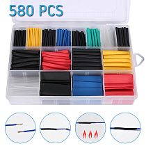 270/280/328/530/560/580pcs Set Assorted Heat Shrink Tubing 2 : 1 Polyolefin Cable Sleeve Wrap Wire Set Insulated Shrinkable Tube