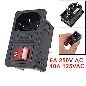 EWS New Hot Sale Inlet Male Power Socket with Fuse Switch 10A 250V 3 Pin IEC320 C