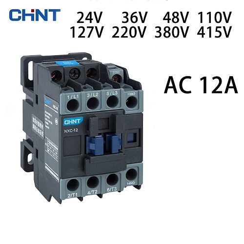 CHINT NXC-12 contac 12A AC 24V 36V 48V 110V 127V 220V 380V 415V customizable Can be combined with thermal overload relay