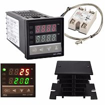 Digital 220V PID REX-C100 Temperature Controller + max.40A SSR + K Thermocouple, PID Controller Set + Heat Sink