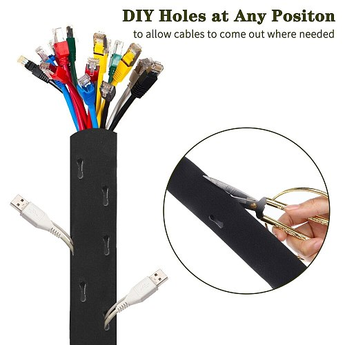 Cable Management Sleeve Cuttable Neoprene Cord Management Organizer System Flexible Cable Wrap Cover for Computer TV Office Home