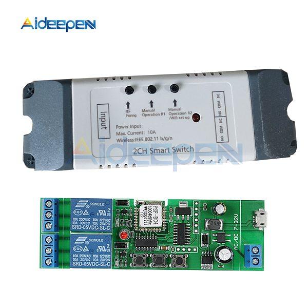 Smart Wifi Relay Switch 2 Channel Relay Smart Home Wifi Module DC 5V 12V 24V 32V 110V 220V Wireless Switch Timer Remote Control