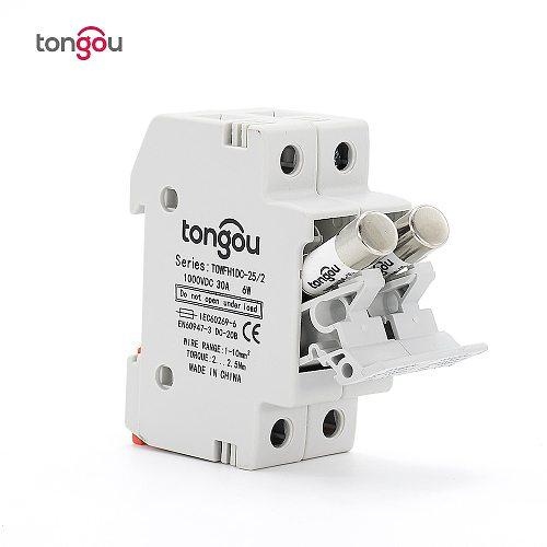 10*38mm High Voltage Solar PV 2P Fuse Holder 1000V With PV Fuses 1000V 25A for solar system protection