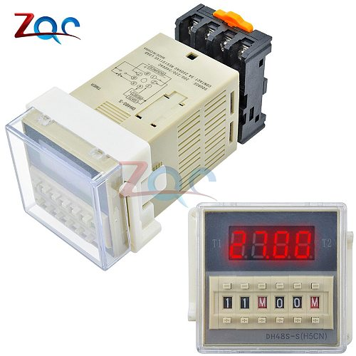 DH48S-S Programmable Double Time Delay Relay Socket cycle Timer Base Voltage DC 12V / DC 24V / AC 110V / AC 220V 5A