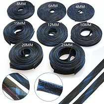 5/10M Braided Cable Sleeve Blue&Black 2/4/6/8/10/12/15/20/25mm PET Nylon High Density Sheathing Insulation Wire Cable Protecting