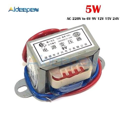 EI Type AC Power Transformer 5W AC 220V to 6V/9V/12V/15V/18V/24V Single Input Voltage 220V 2 Line Copper
