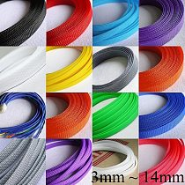 1M 3 4 6 8 10 12 14 mm Cable Sleeve PET Braided Expandable Wire Wrap Insulated Nylon High Density Tight Sheath Protector Harness