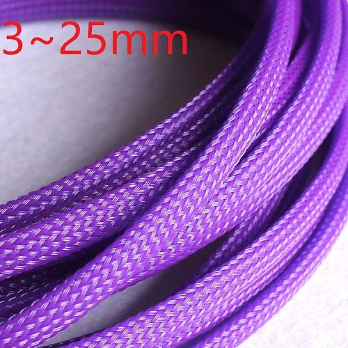 Purple PET Braided Wire Sleeve 3 4 6 8 10 25mm Tight High Density Insulated Cable Protection Expandable Single Color