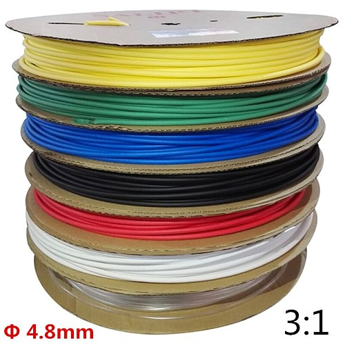 5 meters/lot 4.8mm Heat Shrink Tube with Glue Adhesive Lined 3:1 Shrinkage Dual Wall Shrink Tubing Wrap Wire Cable with 7 Colors