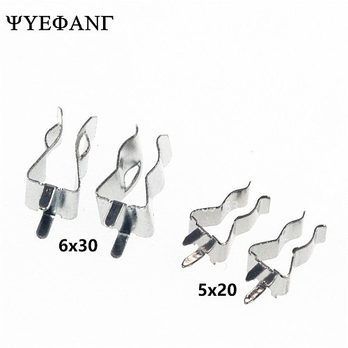 10pcs 5*20mm 6*30MM Fuse Holder Clips Glass Quick Fast Blow Fuses Welding Holder 5X20MM 6X30MM