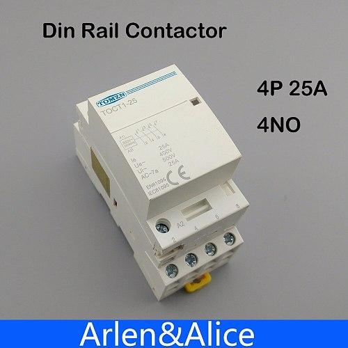 TOCT1 4P 25A 220V/230V 50/60HZ Din rail Household ac Modular contactor  4NO