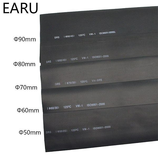 1meter 2:1 Black 50mm 60mm 70mm 80mm 90mm  Heat Shrink Heatshrink Tubing Tube Wire Dropshipping