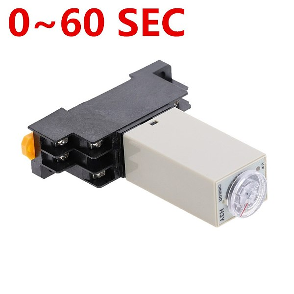 1pcs H3Y-2 DC 12V 24V /AC 110V 220V Delay Timer Time Relay 0 - 60 SEC with Base 5A
