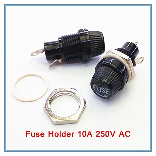 20pcs/lot 5*20mm glass fuse holders 5x20 black, insurance tube socket fuse holder for 5*20 insurance Panel Mount Fuse Holder.