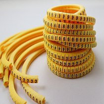 freeshipping 0.5 0.75 1.0 1.5 2.5 4.0 6.0 10.0 16 25 35 mm2 yellow cable marker plum tubing 0-9 different number