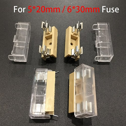5*20mm 5x20mm 6*30mm 6x30mm AUG Panel Mount Socket Block Box PCB Glass Tube Fuse Holder Case With Cover