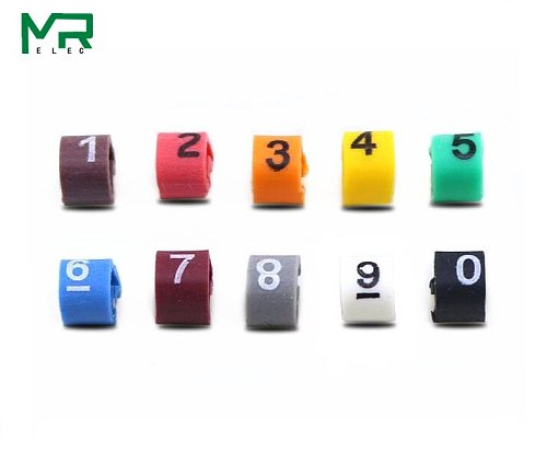 500PCS EC-1 Cable Wire Marker 0 to 9 For Cable Size 2.5 sqmm Colored