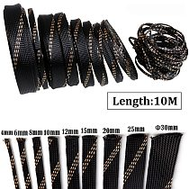 10M Insulation Braided Sleeves Black+Gold 4/6/8/10/12/15/20/25mm Wire Protection High Density Expandable Braided Sleeving Cable