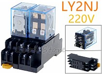 1set 220V AC DC 10A Coil Power Relay DPDT LY2NJ HH62P HHC68A-2Z With Socket Base New