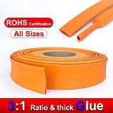 1M 2.4/3.2/4.8/6.4/7.9/9.5/12.7/15mm 3:1 ratio Dual Wall Orange Heat Shrink Tube Adhesive thick Glue Tubing Wrap Wire Cable kit