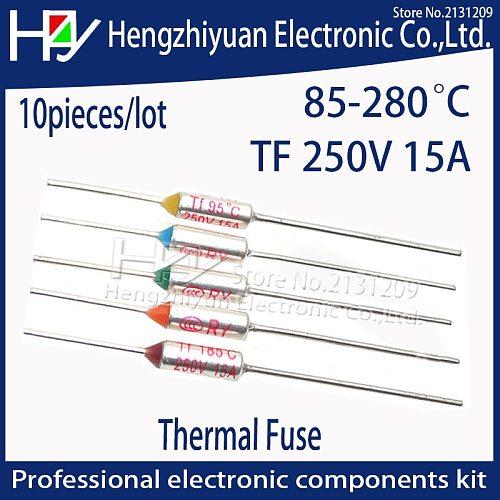 TF Thermal Fuse 15A 250V Temperature 85C 95C 100C 105C 110C 113C 115C 120C 125C 130C 152C 165C 167C172C 185C 192C 216C 240C 280C
