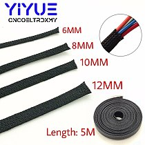 5M Black Insulated Braid Sleeving 6/8/10/12mm high quality PET Wire Cable Protection Expandable Cable Sleeve Wire Gland